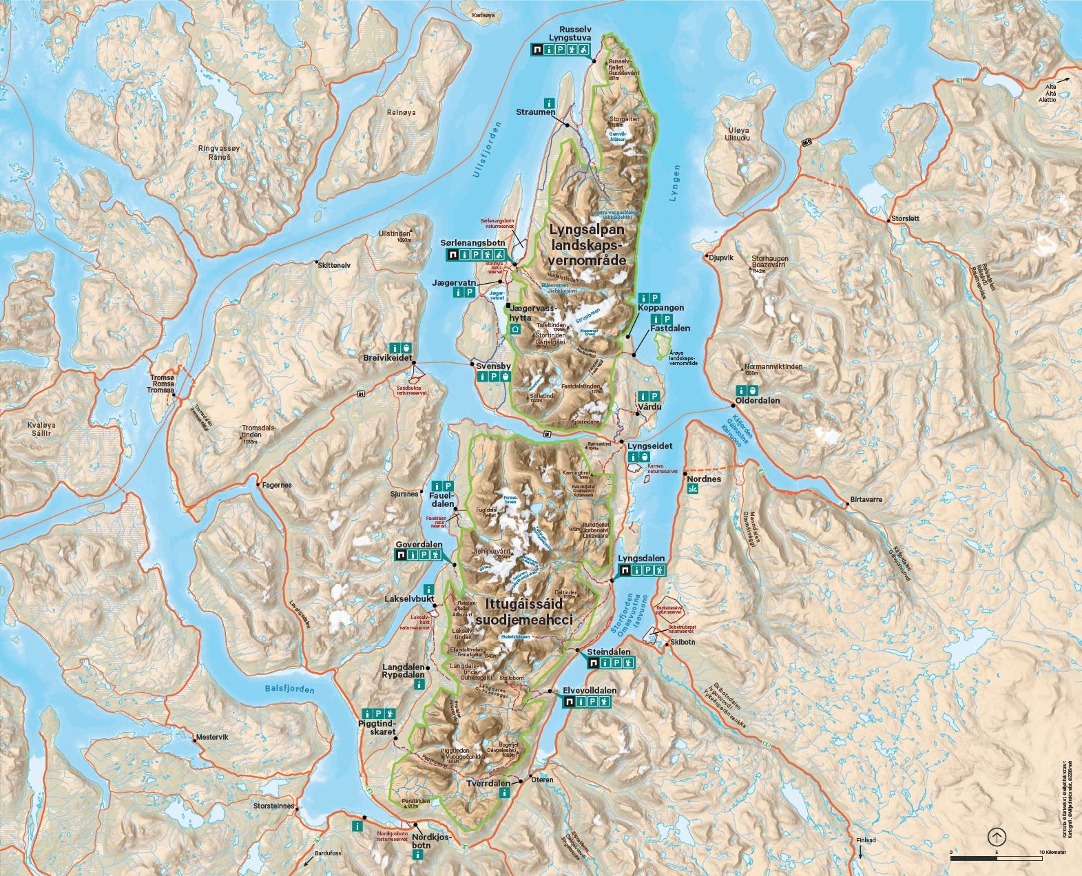 Kart over Lyngsalpan landskapsvernområde